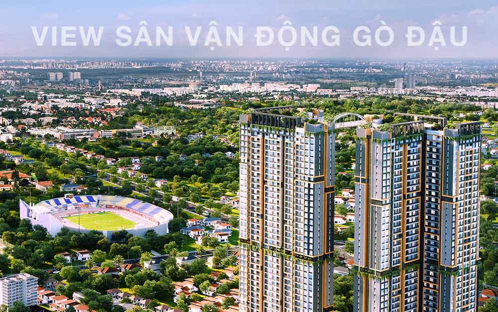 Happy One Central với View sân vận động Gò Đậu